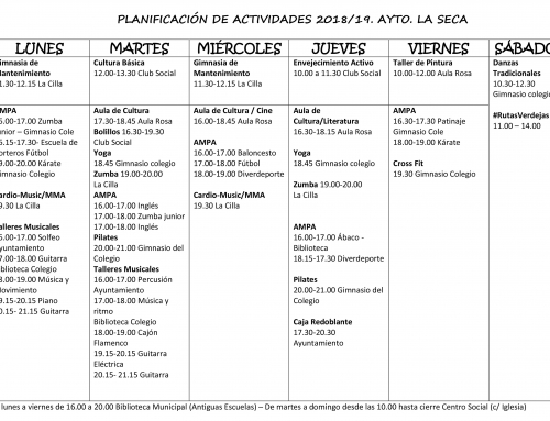 Planificación de actividades 2018-2019