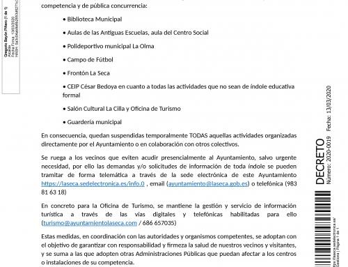 RESOLUCIÓN DE ALCALDÍA : Cierre de centros y espacios