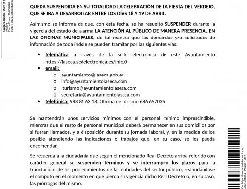BANDO : Suspensión XIII Fiesta del Verdejo de La Seca (abril, 2020)