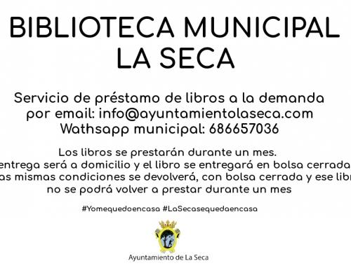 Biblioteca Municipal y servicio de préstamos de libros durante la alerta sanitaria COVID19