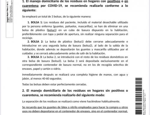 BANDO : Tratamiento sobre residuos en tiempos de COVID-19