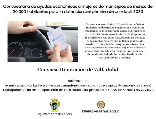 Convocatoria de ayudas económicas a mujeres de municipios de menos de 20.000 habitantes para la obtención del permiso de conducir 2020