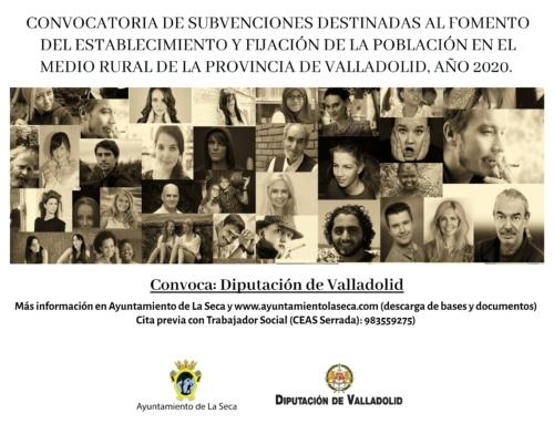 CONVOCATORIA DE SUBVENCIONES DESTINADAS AL FOMENTO DEL ESTABLECIMIENTO Y FIJACIÓN DE LA POBLACIÓN EN EL MEDIO RURAL DE LA PROVINCIA DE VALLADOLID, AÑO 2020.
