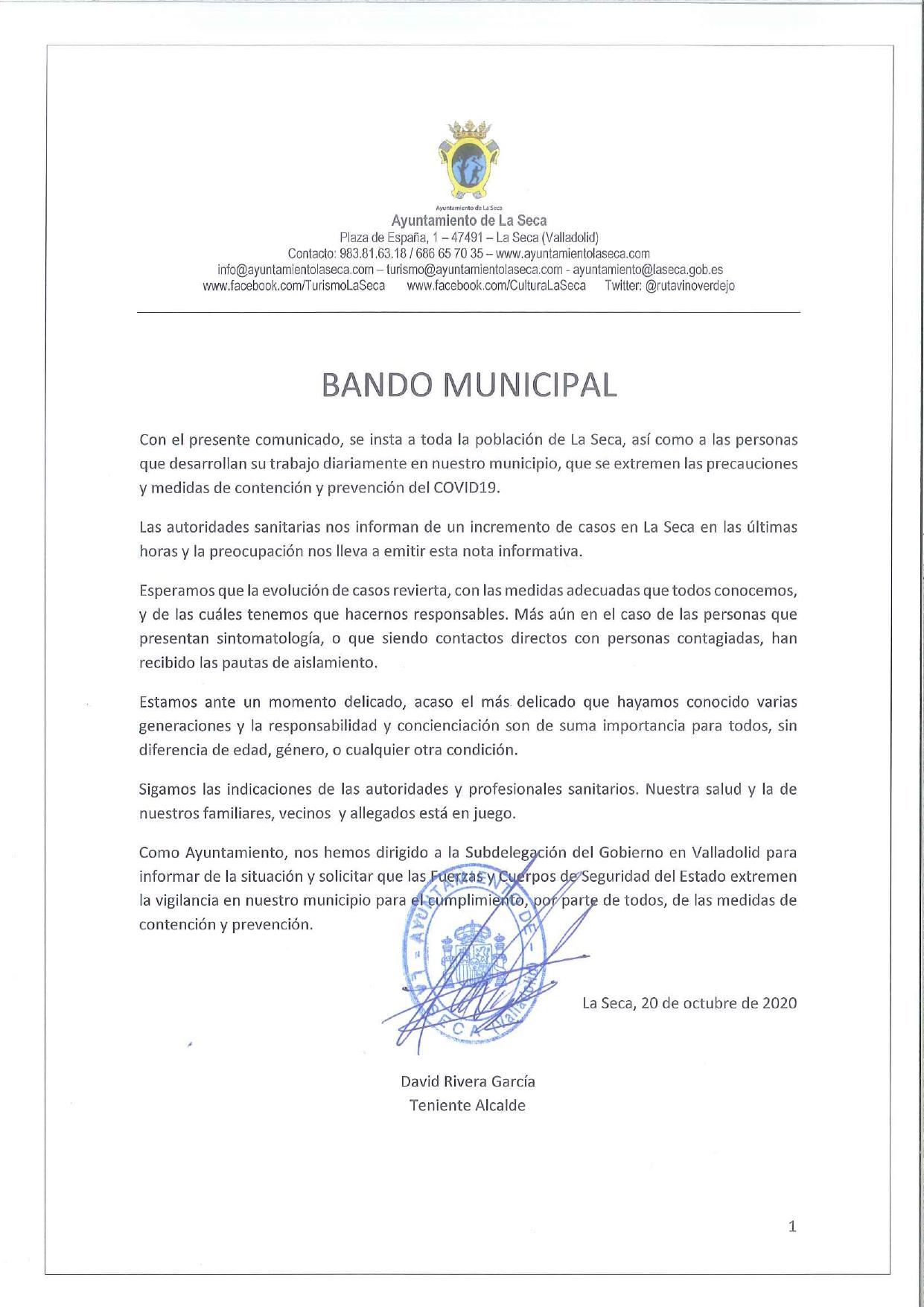 Bando Municipal relativo a la situación de la pandemia de COVID19 en La Seca