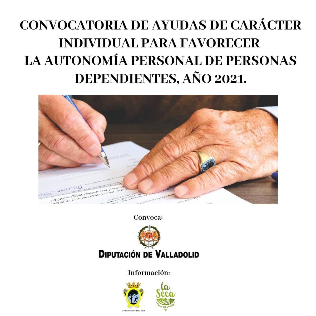 CONVOCATORIA DE AYUDAS DE CARÁCTER INDIVIDUAL PARA FAVORECER  LA AUTONOMÍA PERSONAL DE PERSONAS DEPENDIENTES, AÑO 2021.