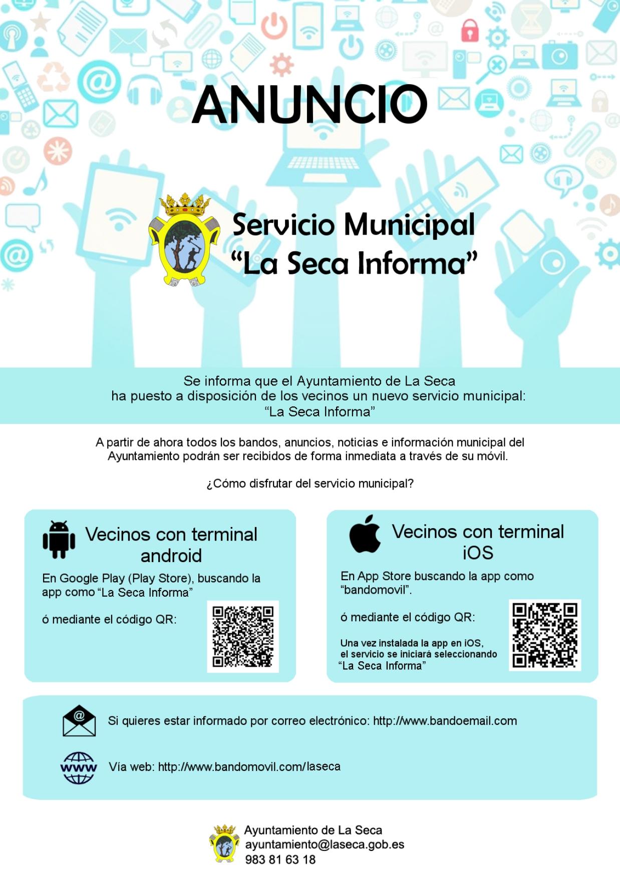 Nueva aplicación móvil para informar a los vecinos de La Seca: Bandomovil «La Seca informa»